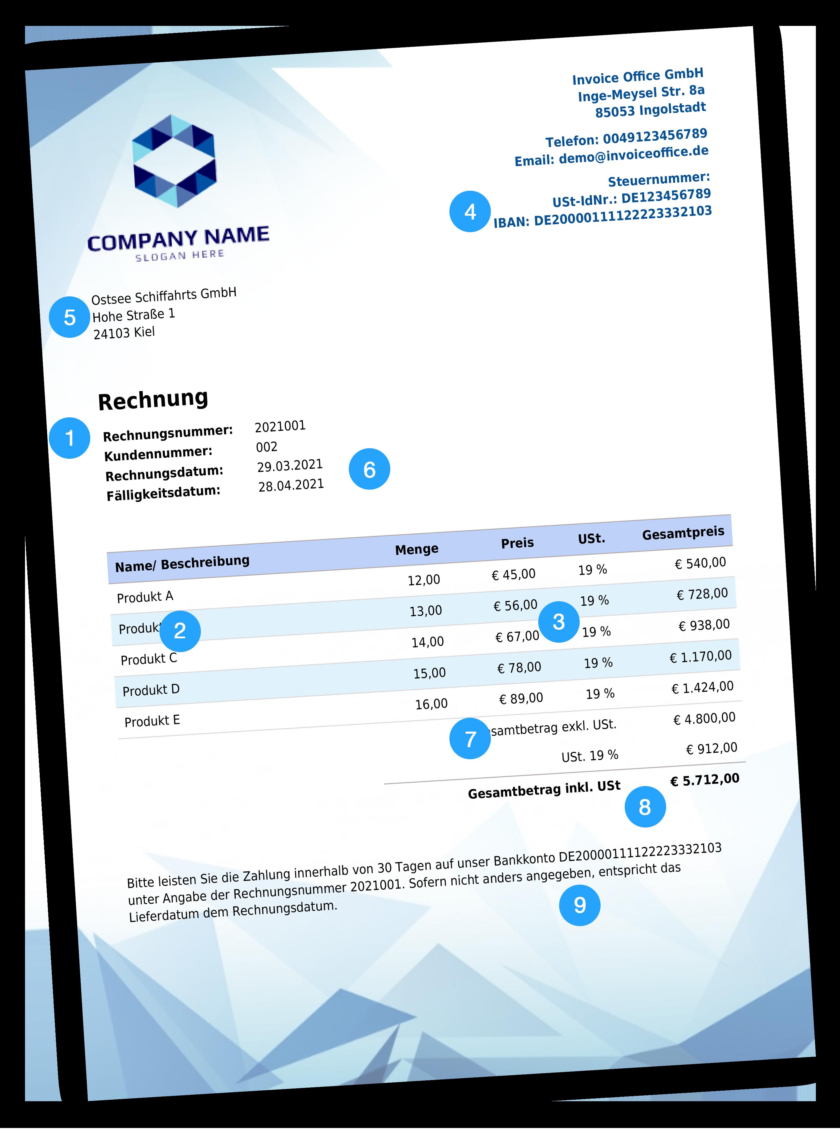 Beispiel für Rechnungsdaten, die von den Steuerbehörden verlangt werden