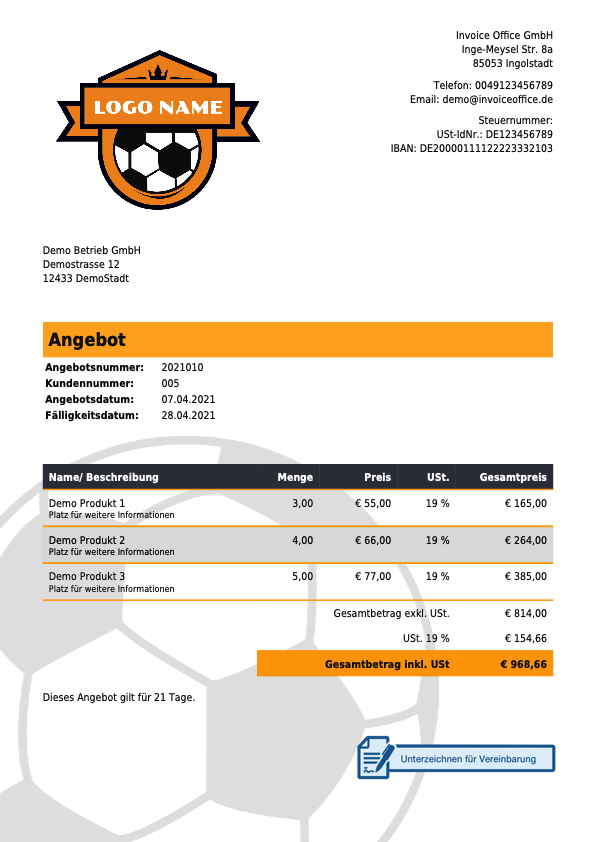 Angebot Beispiel Sportunternehmen mit Invoice Office