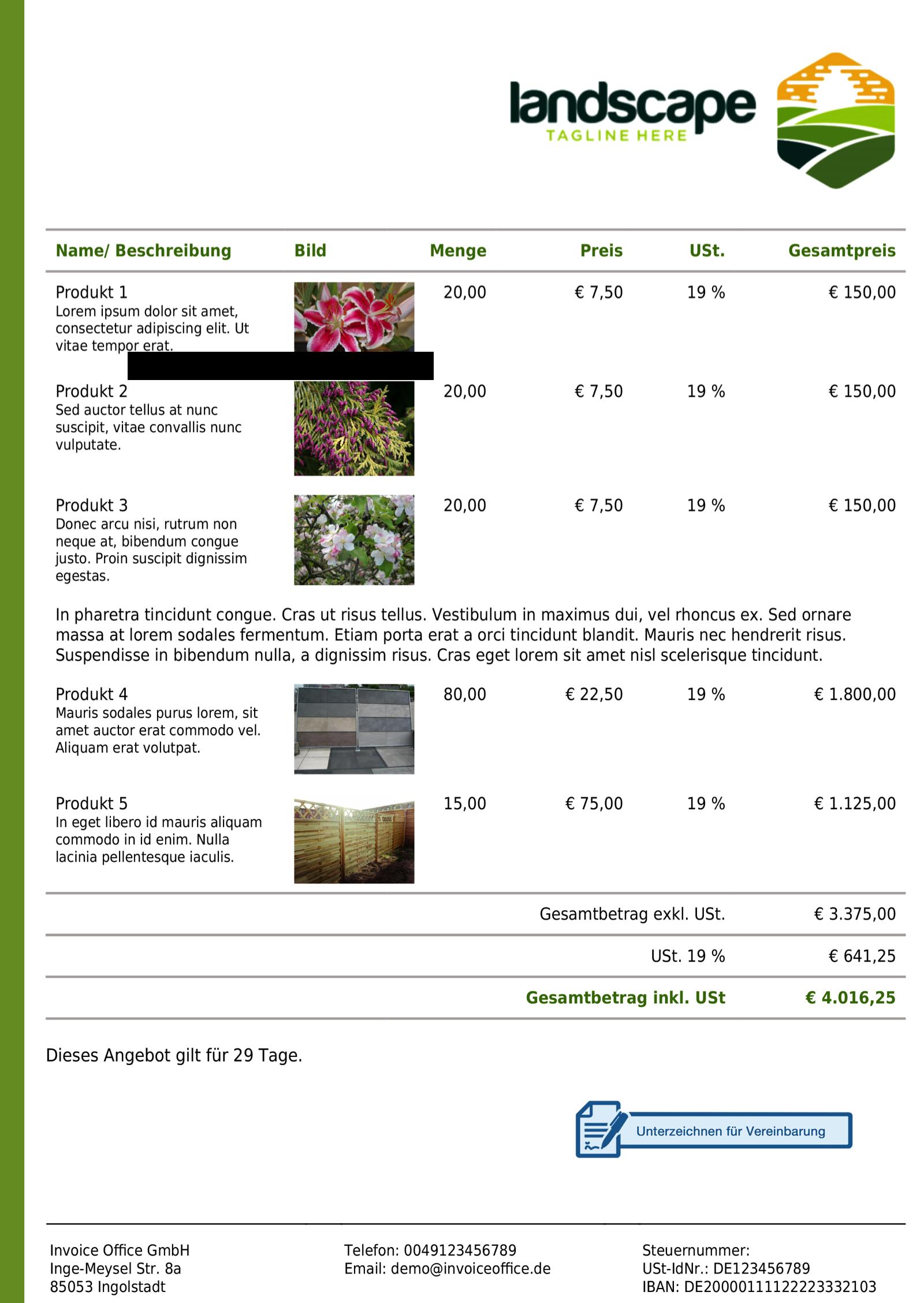 Beispiel Umfangreicher Angebotsinhalt mit Invoice Office
