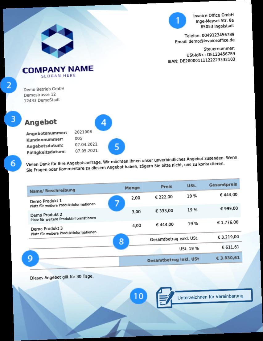 Empfohlene Angebotsinformationen mit Invoice Office