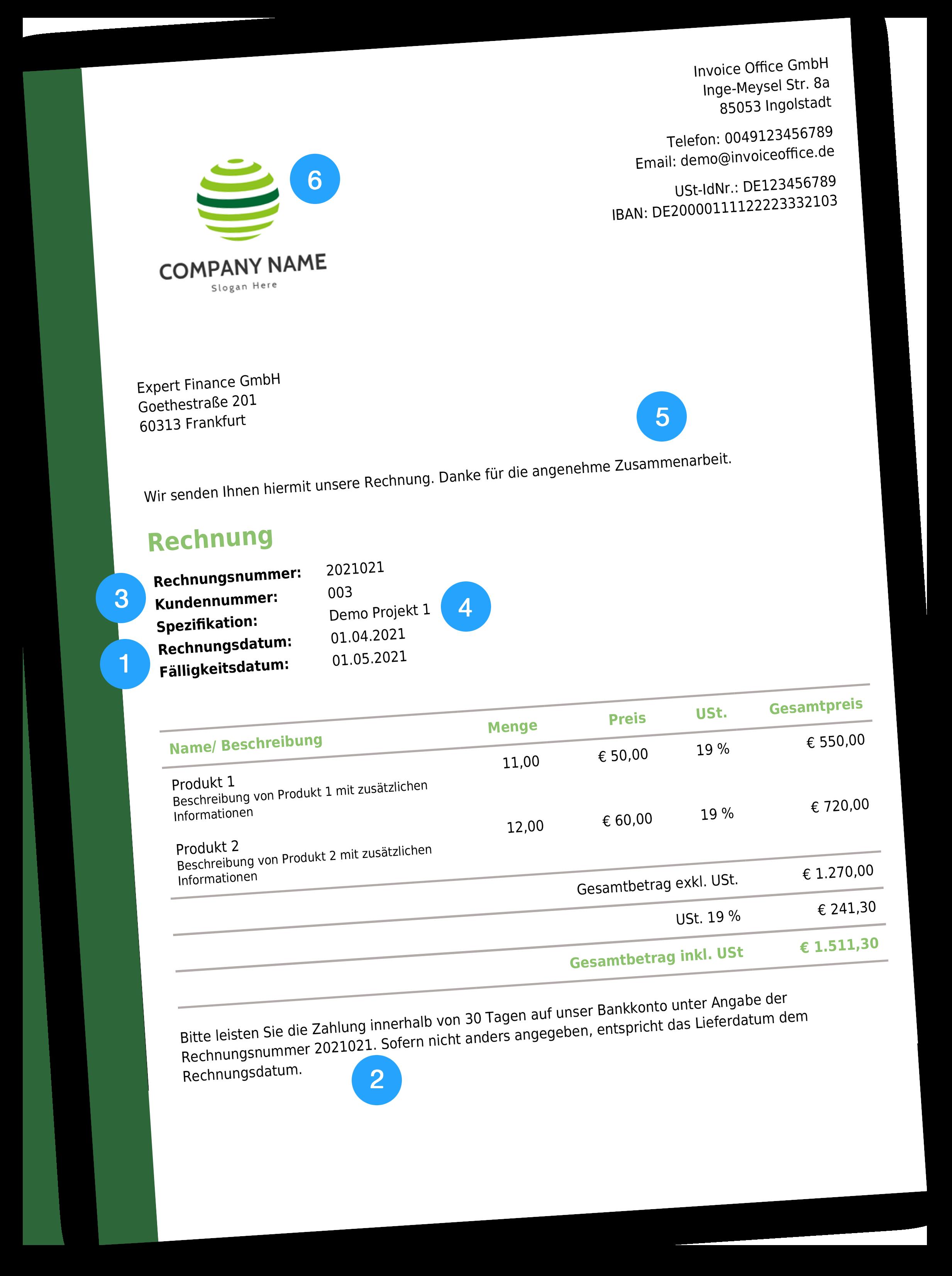Empfohlene Rechnungsinformationen mit Invoice Office