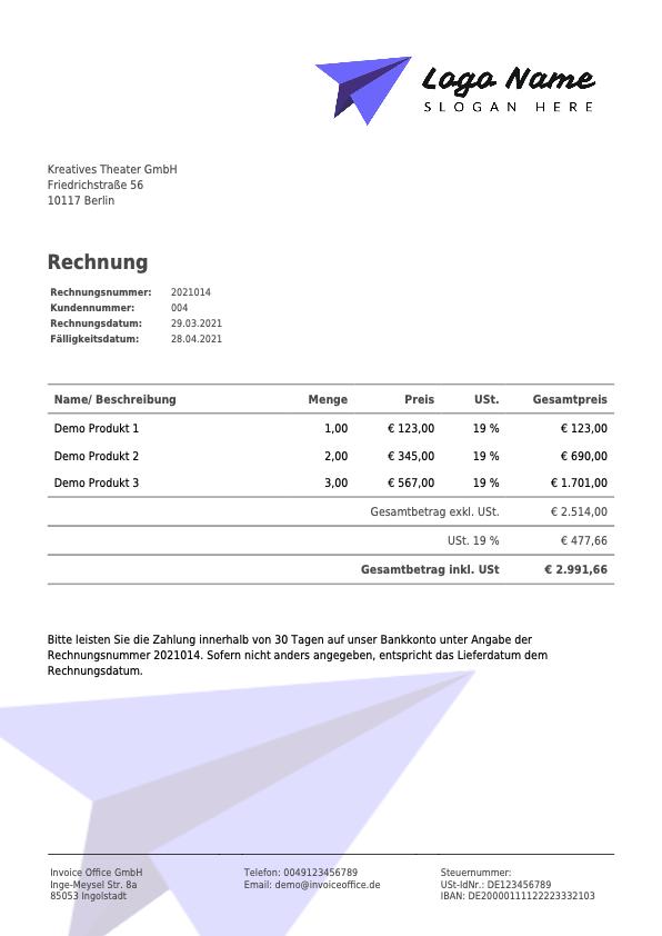 Rechnung Invoice Office GmbH (2021014)