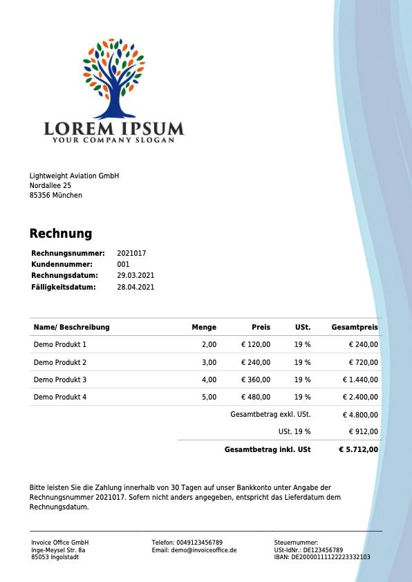Rechnung Invoice Office GmbH (2021017)