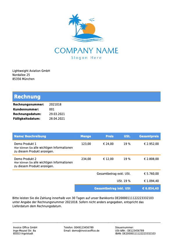 Rechnung Invoice Office GmbH (2021018)
