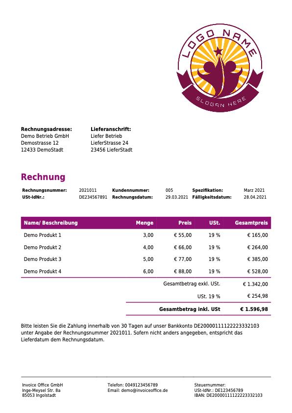 Rechnungsvorlage mit Lieferadresse auf der Rechnung
