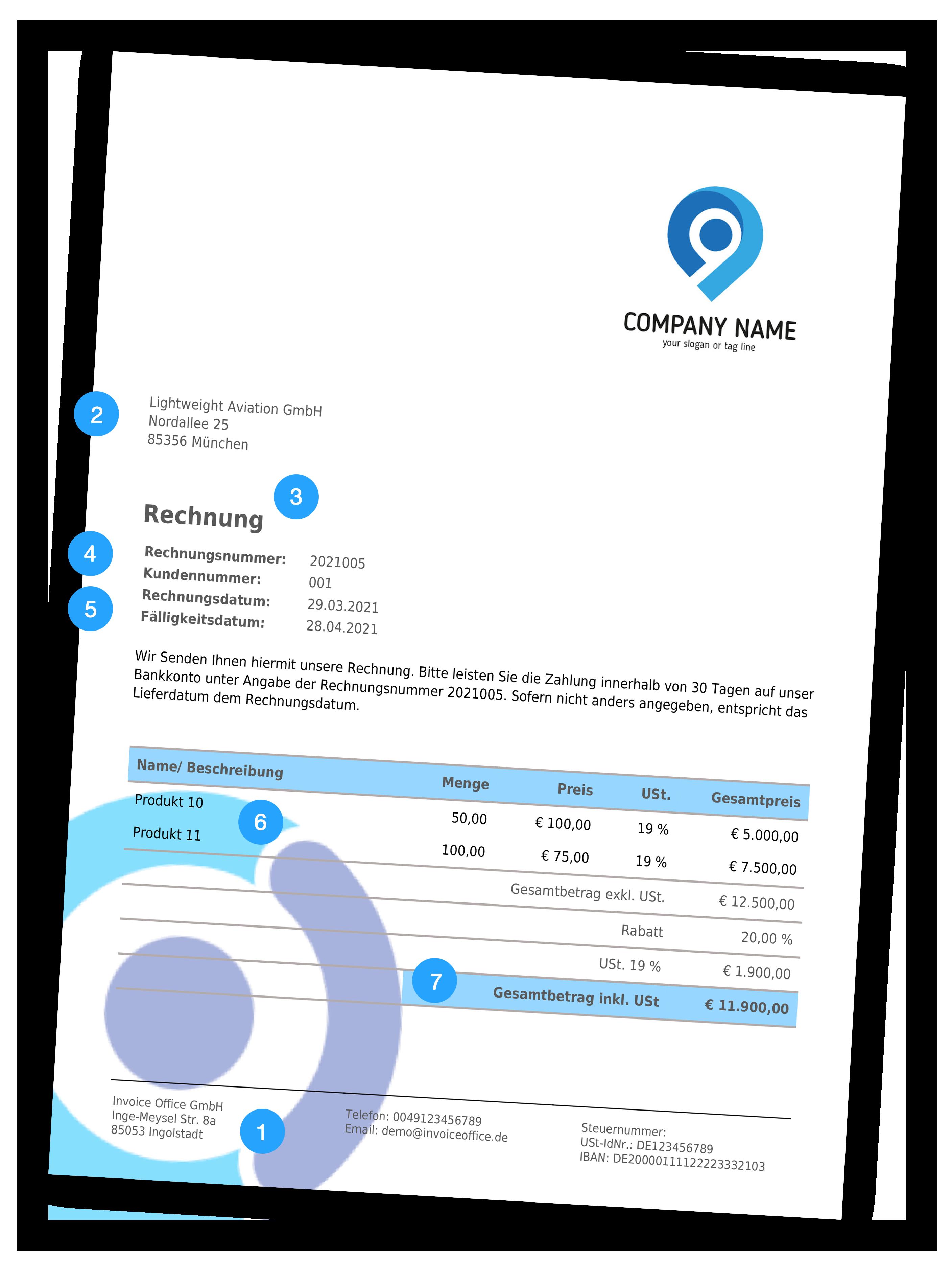 Obligatorische Rechnungsinformationen